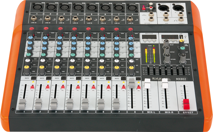 IBIZA 8 kanals mixer med usb og bluetooth