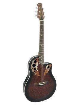 Image of   DiMavery OV-500 Roundback Guitar - Rød