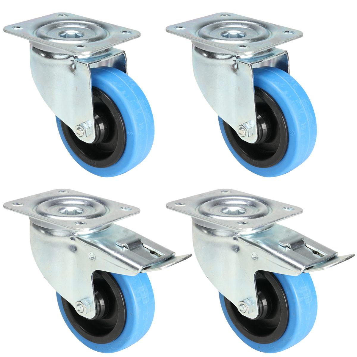 Image of   4 x Blå Hjul 100 mm (2 med og 2 uden bremse)