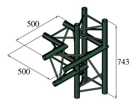 Alutruss TRILOCK S-PAC-44 4-way piece \/ left black