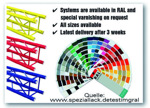 Alutruss Price for RAL painting Singlelock/ meter