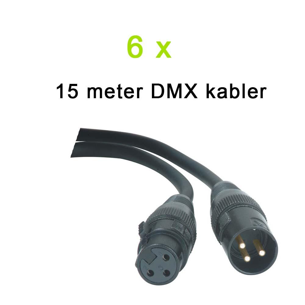 DMX Kabel Pakke, 6 x 15 meter