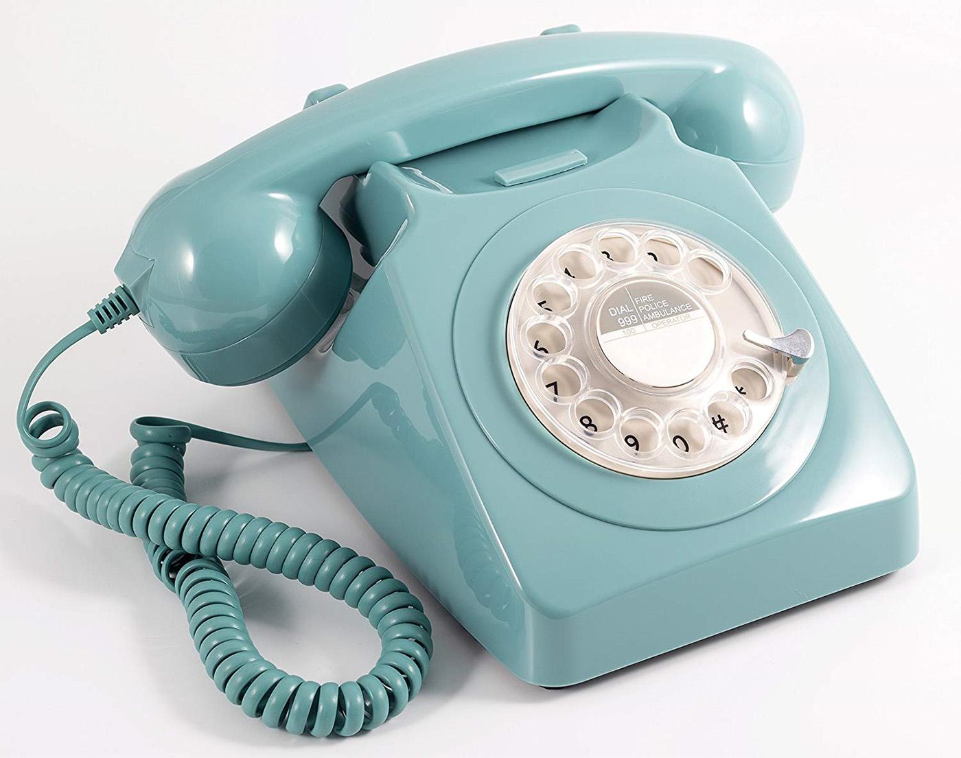 GPO 746 Moderne Retro Drejeskivetelefon - Blå