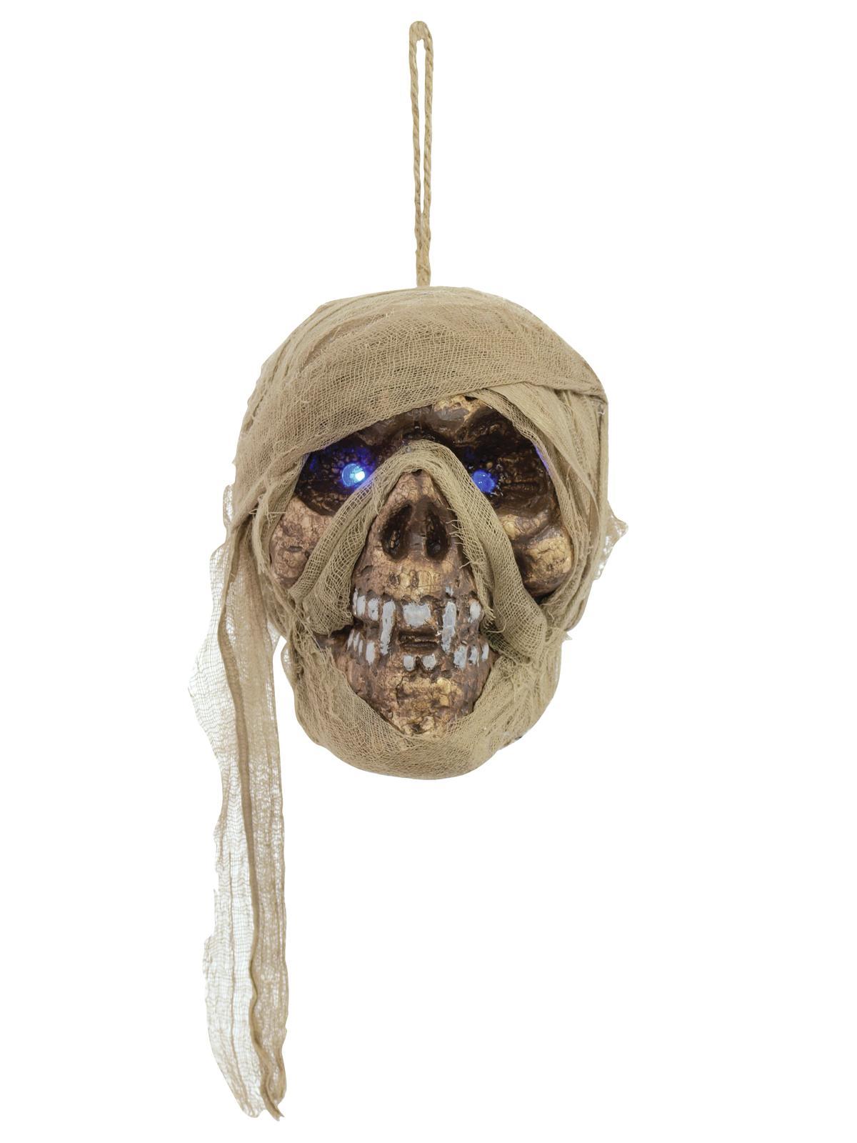 Halloween mumie kranie med glødende blå øjne