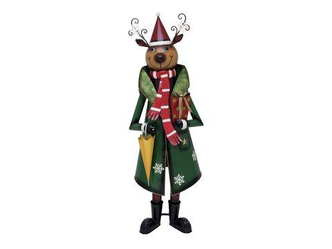 Billede af Reindeer with Coat, Metal, 155cm, green
