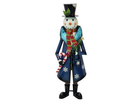 Snowman with Coat, Metal, 150cm, blue