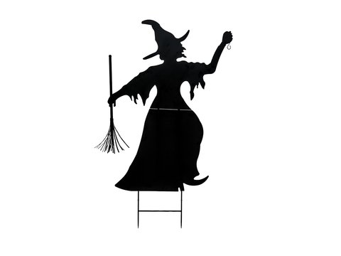 Silhouette Metal Witch with Broom, 150cm