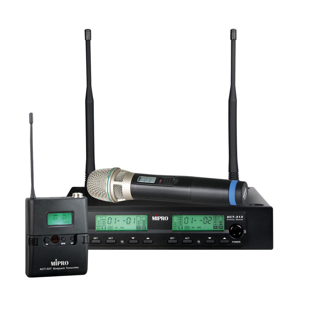 Image of   Mipro trådløs mikrofonsæt ACT312 m/ håndholdt og lommesender