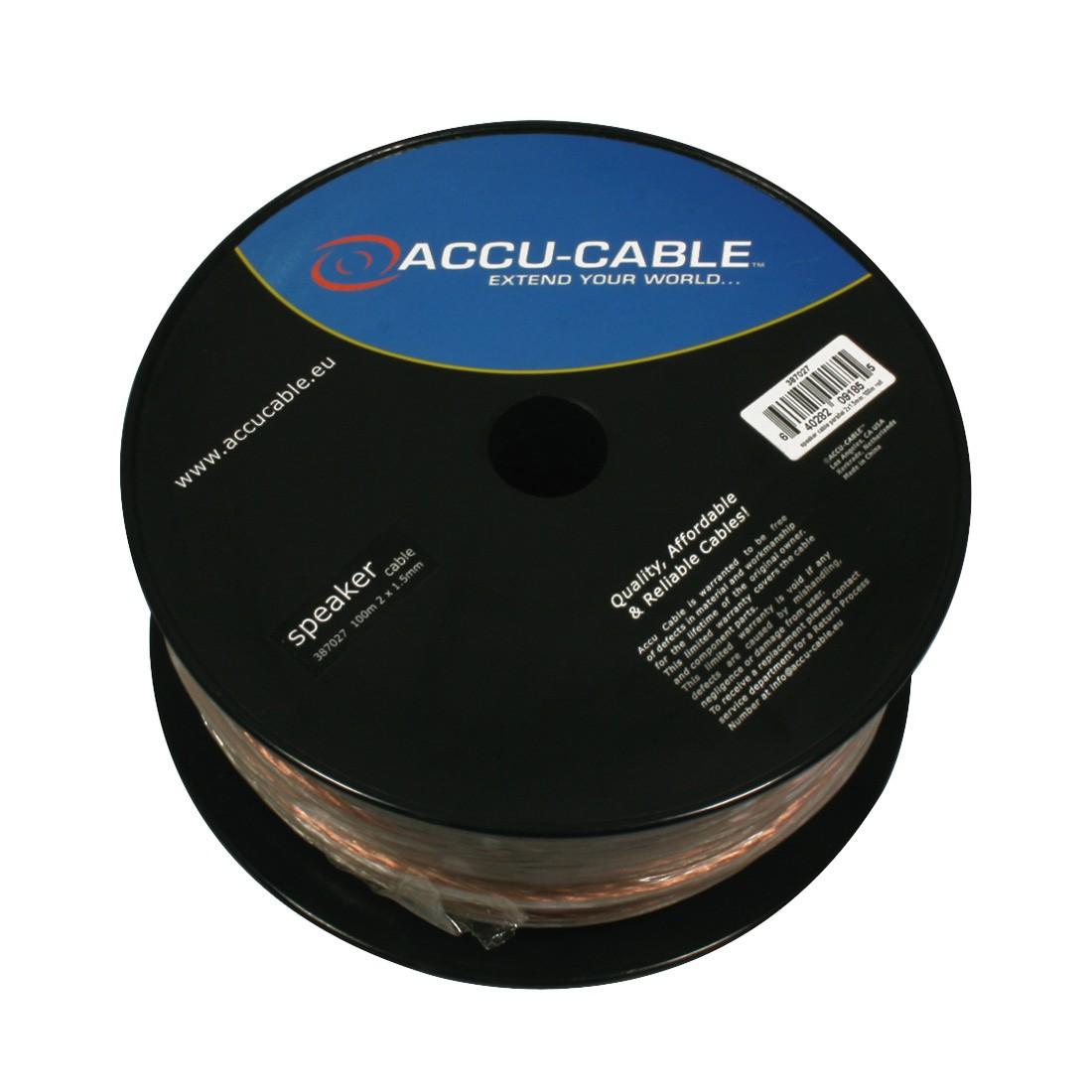 Accu-Cable 100 meter Højtaler kabel 2x1,5mm²/flat Transparent