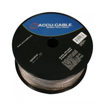 Accu-Cable 100 meter Højtaler kabel 2x2,5mm²/flat Transparent