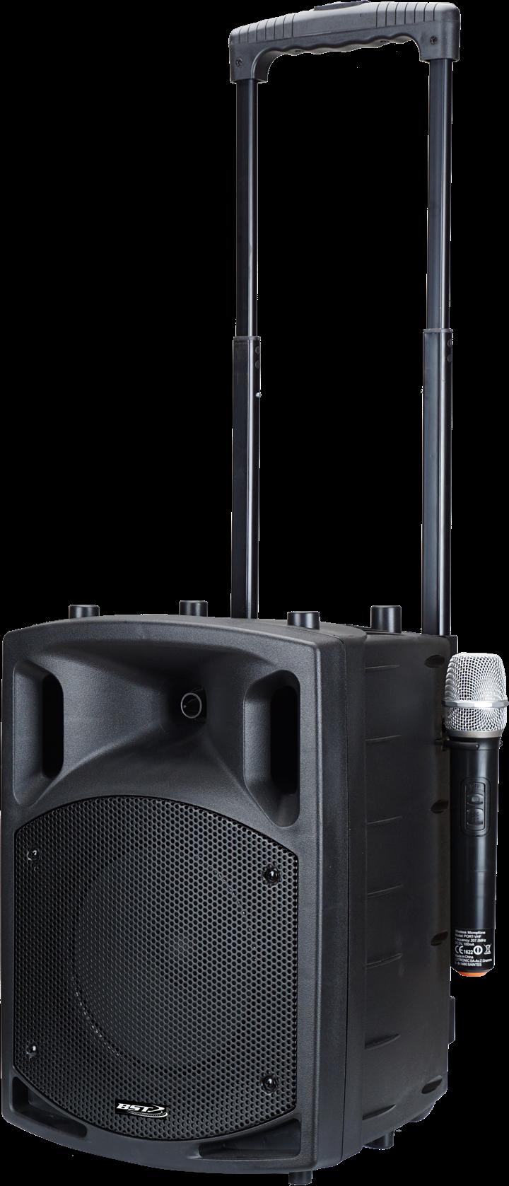 "BST 100W transportabel 8"" højttaler med USB, MP3, BT & mikrofoner"