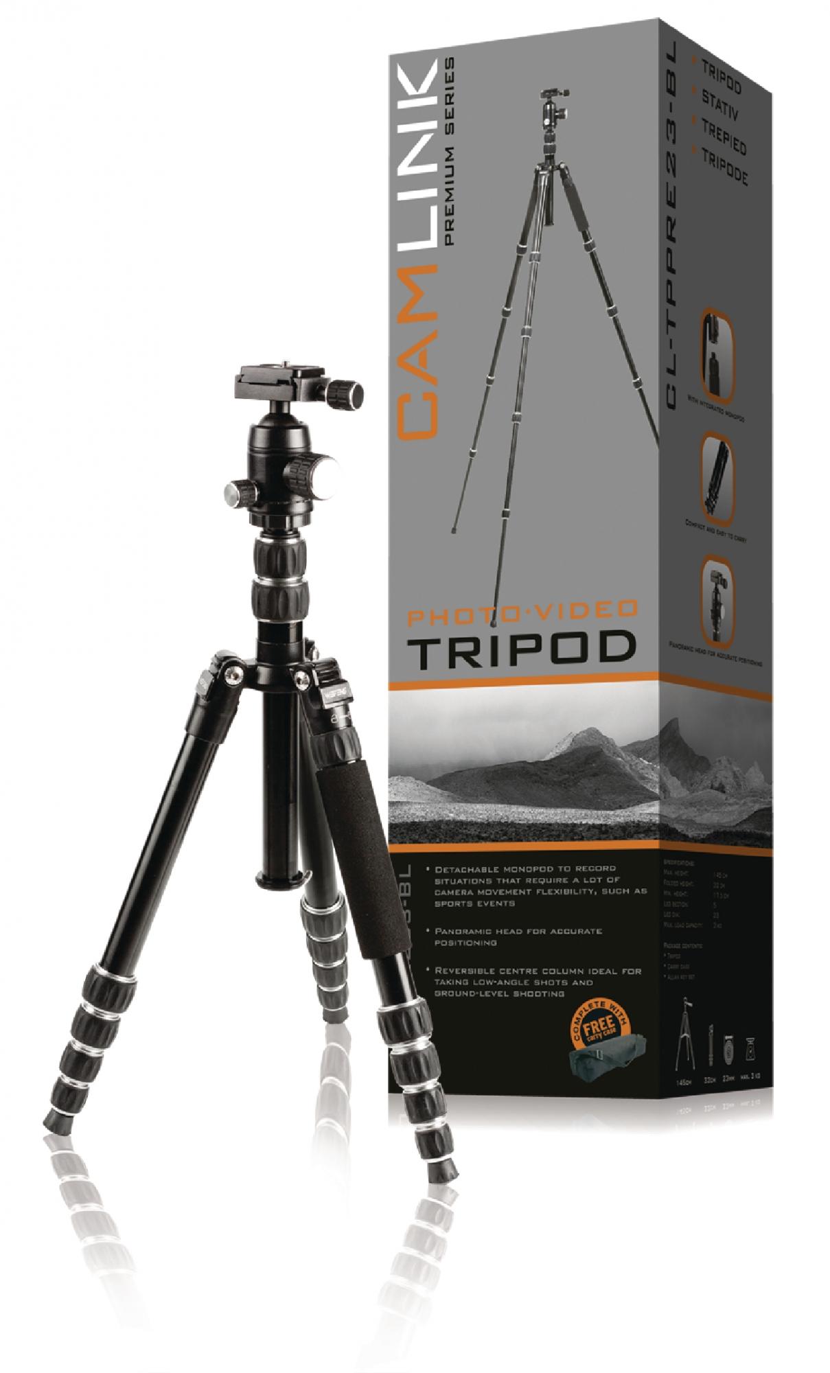 Image of   Premium kamera/video stativ hoved, 160 cm. sort