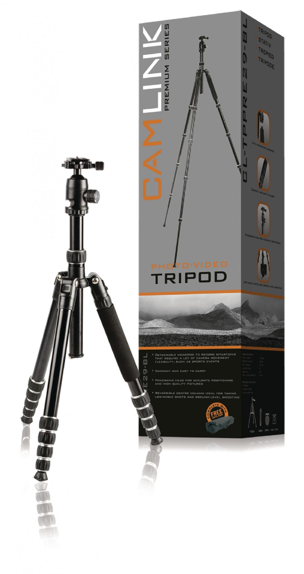 Image of   Premium kamera/video stativ hoved, 170 cm. sort
