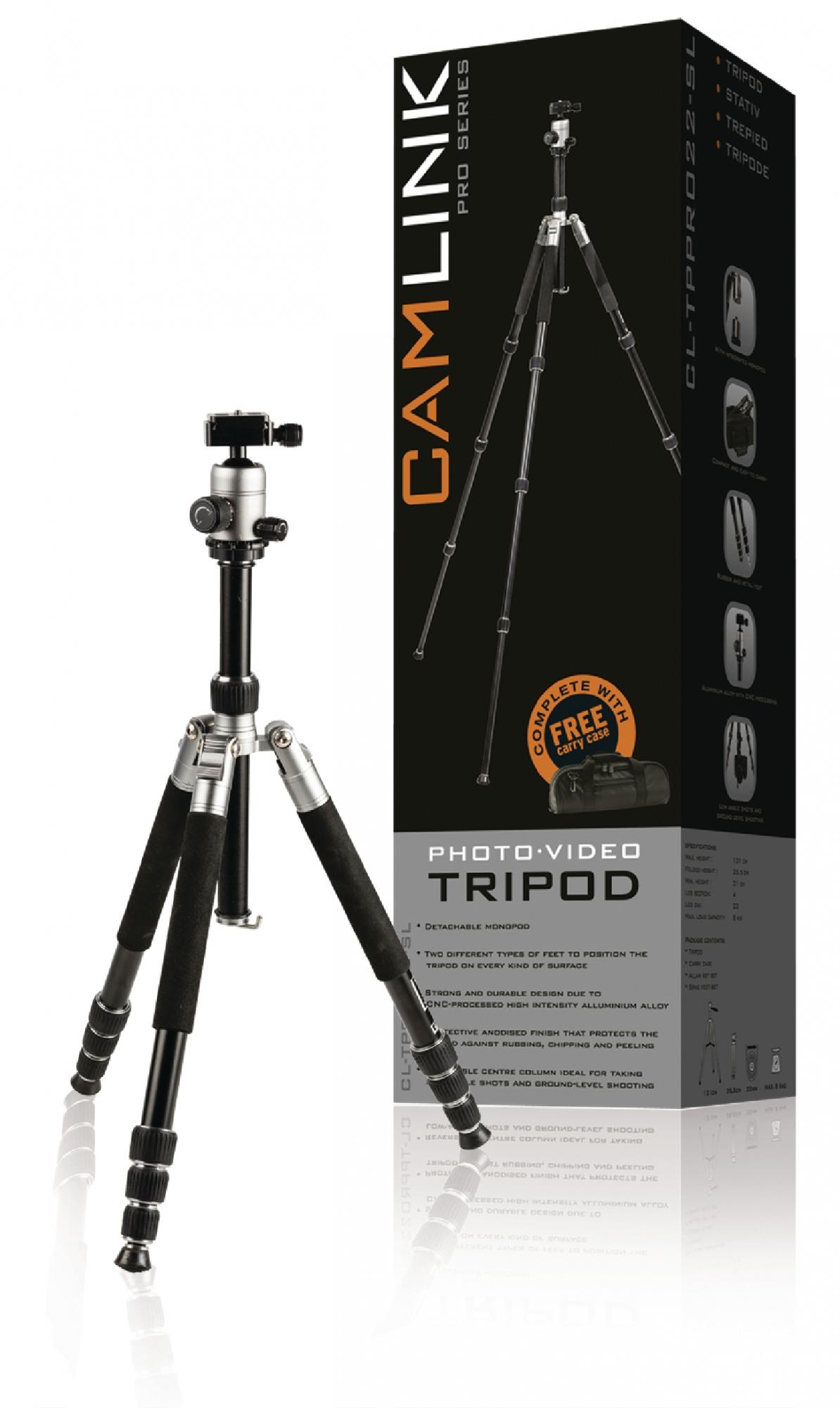 Image of   Professional kamera/video stativ hoved, 131 cm. sort/sølv