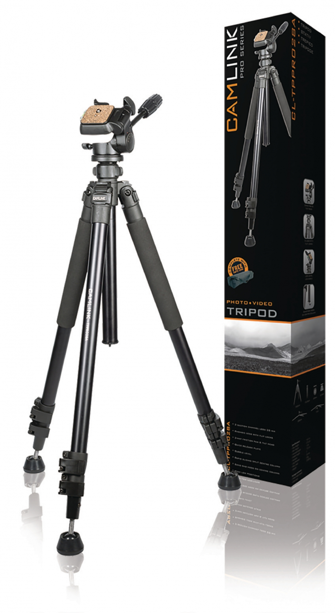 Image of   Professional kamera/video stativ vipbar, 165 cm. sort