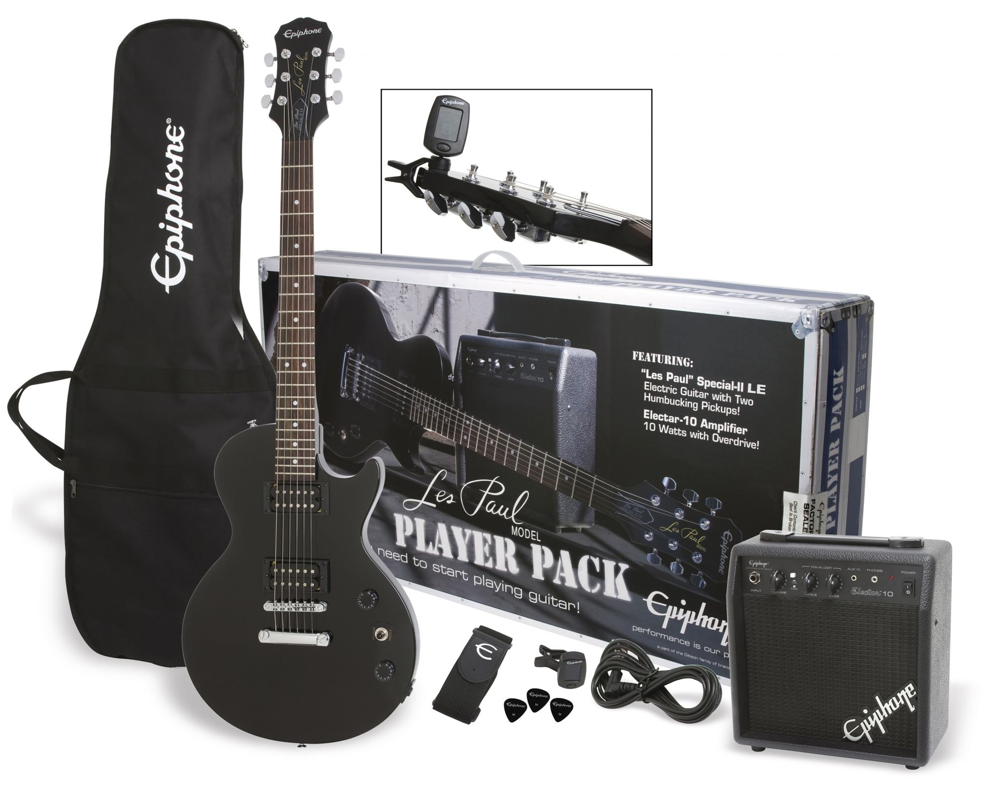 Image of   Epiphone Les Paul, Ebony CF, Player Pack