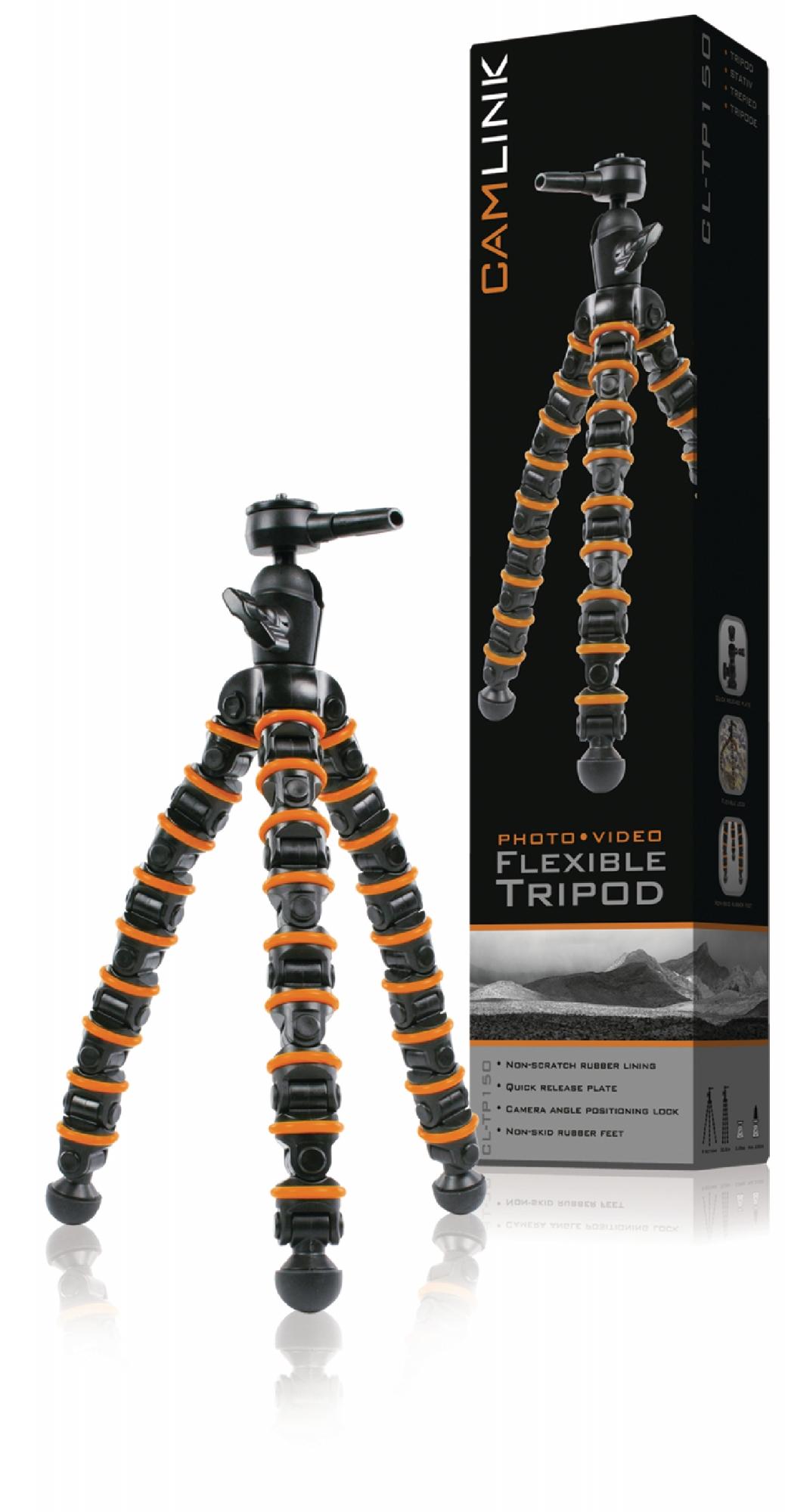 Image of   Fleksibelt stativ, 32.5cm. 2.5 kg. sort/orange