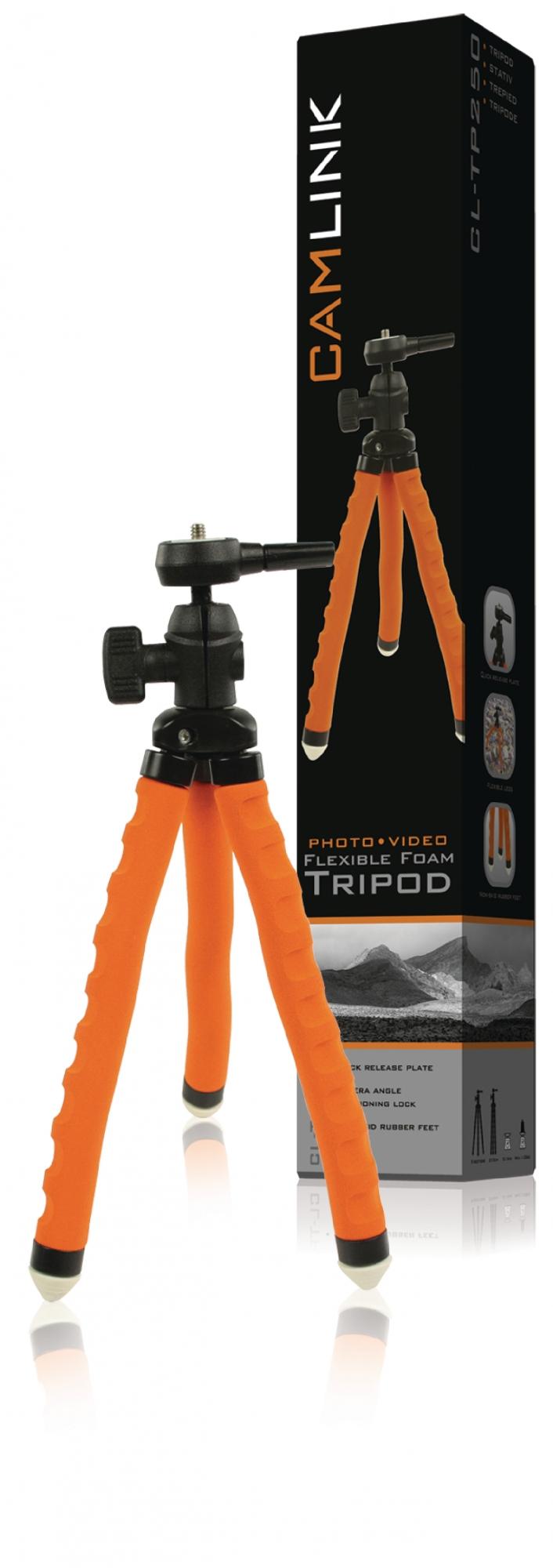 Image of   Fleksibelt stativ 27.5 cm. 1 kg. sort/orange