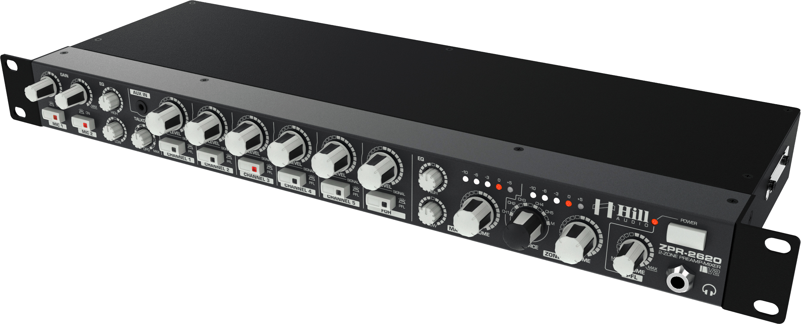 Hill Audio 2-zone mixer 1U m. CascadeZone©