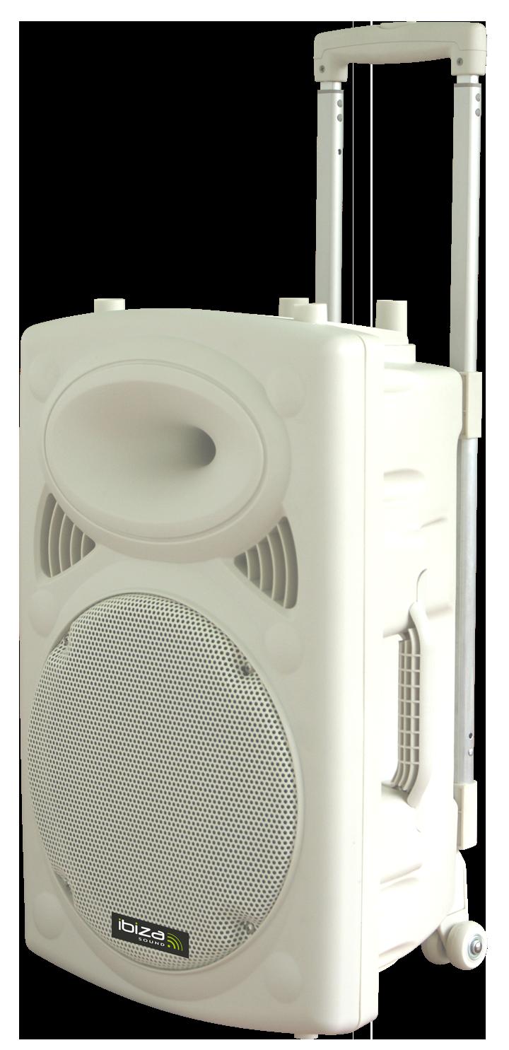"""Image of   Ibiza sound transportabel 12"""" højttaler med USB, MP3, BT, REC, VOX og mikrofoner Hvid"""