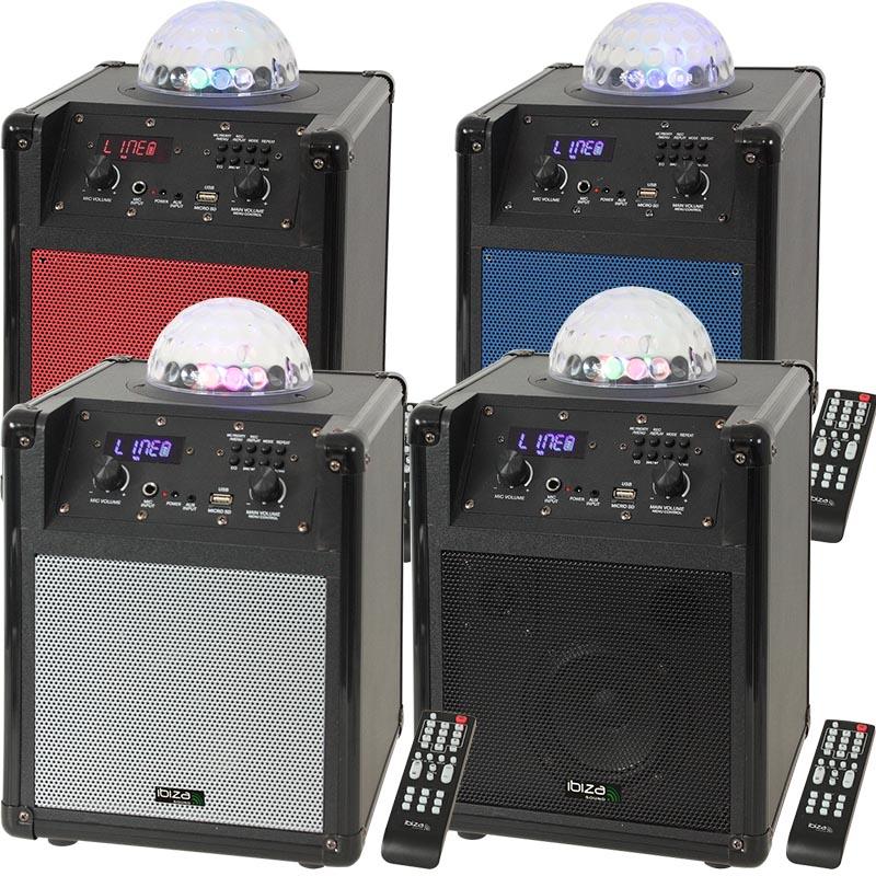 Image of   Ibiza sound transportabel højttaler med indbygget RGB spejlkugle Blå