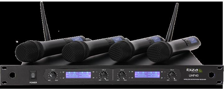 Ibiza trådløs UHF mikrofon system med 4 mikrofoner