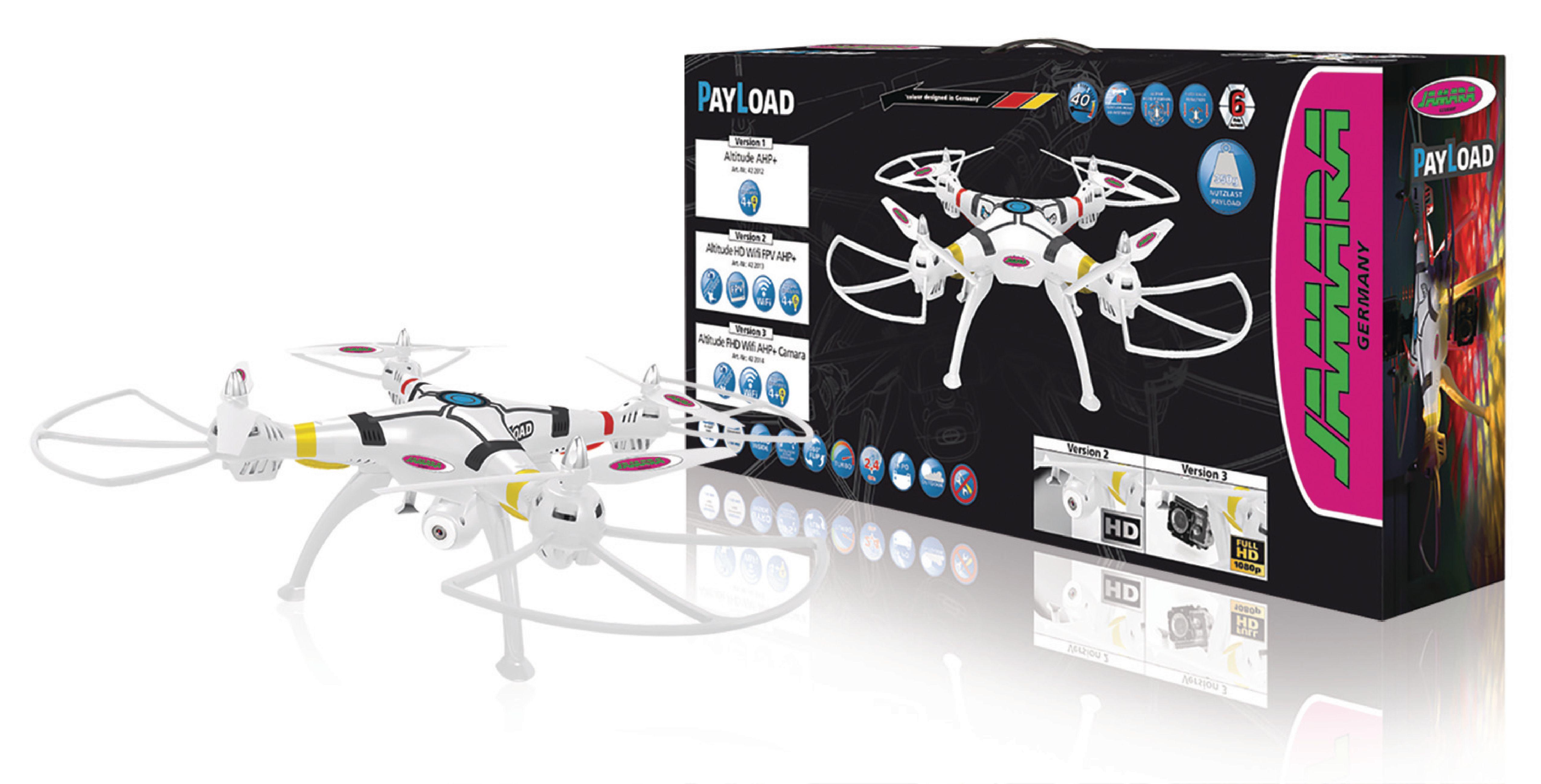 R/C Drone Payload Altitude 4+6 Channel RTF / Foto / Video / Gyro Indeni / Med Belysning / 360 Flip / FPV 2,4 GHz Styring Hvid