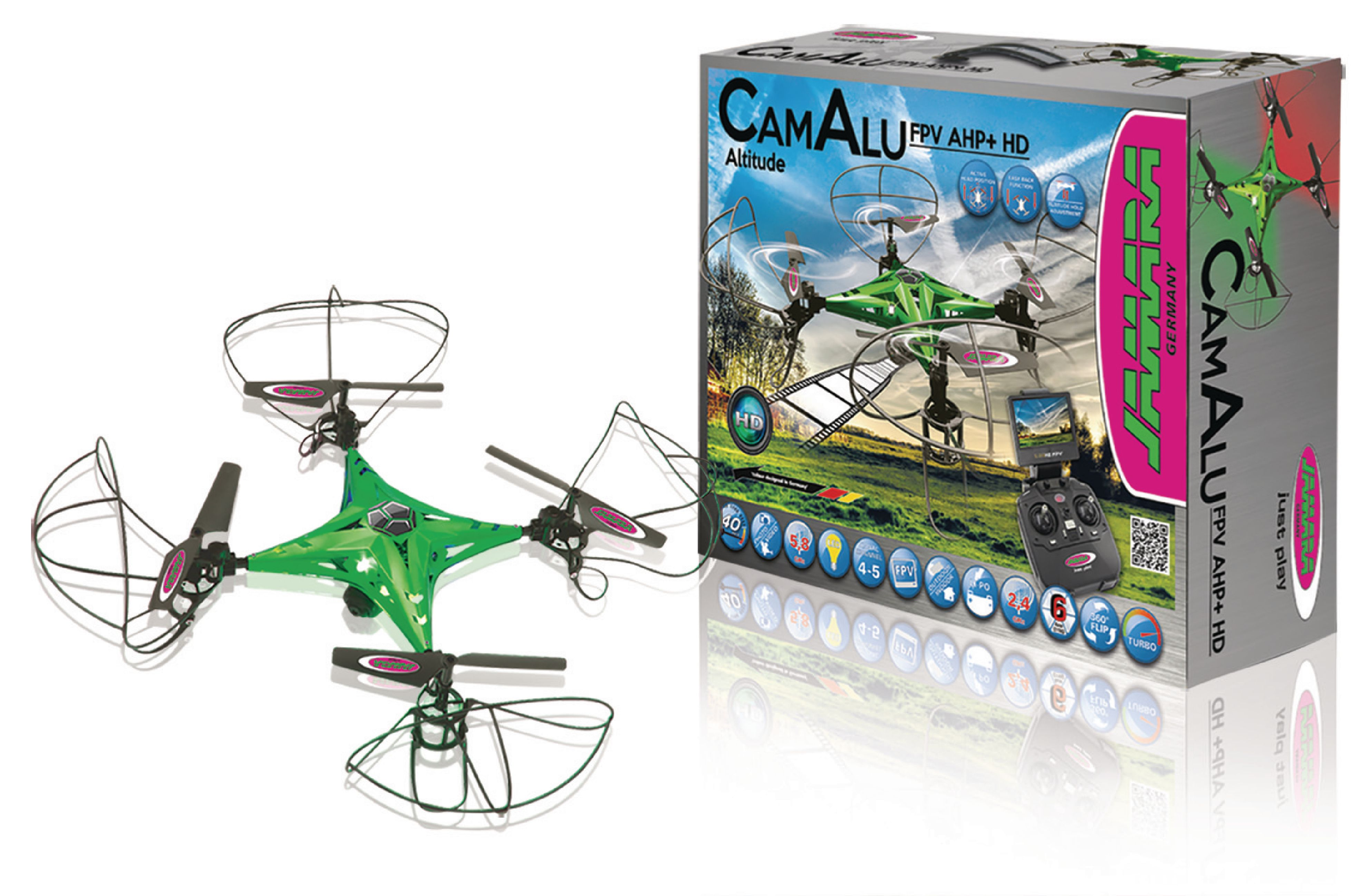 R/C Drone CamAlu 4+5 Channel RTF / Foto / Video / Gyro Indeni / Med Belysning / 360 Flip / FPV 2,4 GHz Styring Grøn