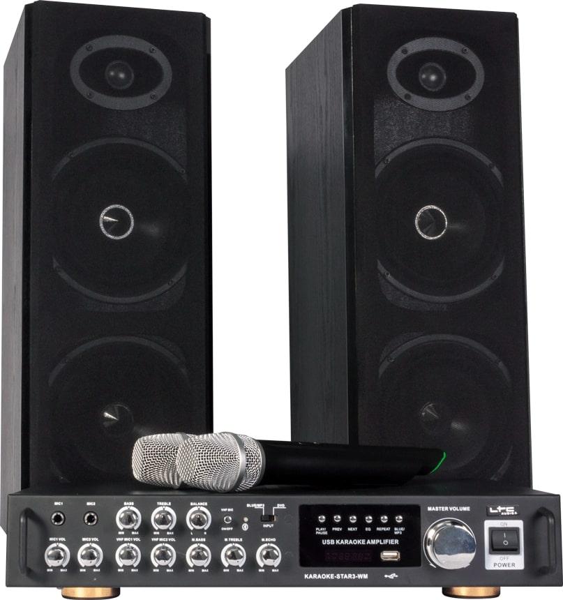 Karaoke sæt med trådløse mikrofoner og Bluetooth