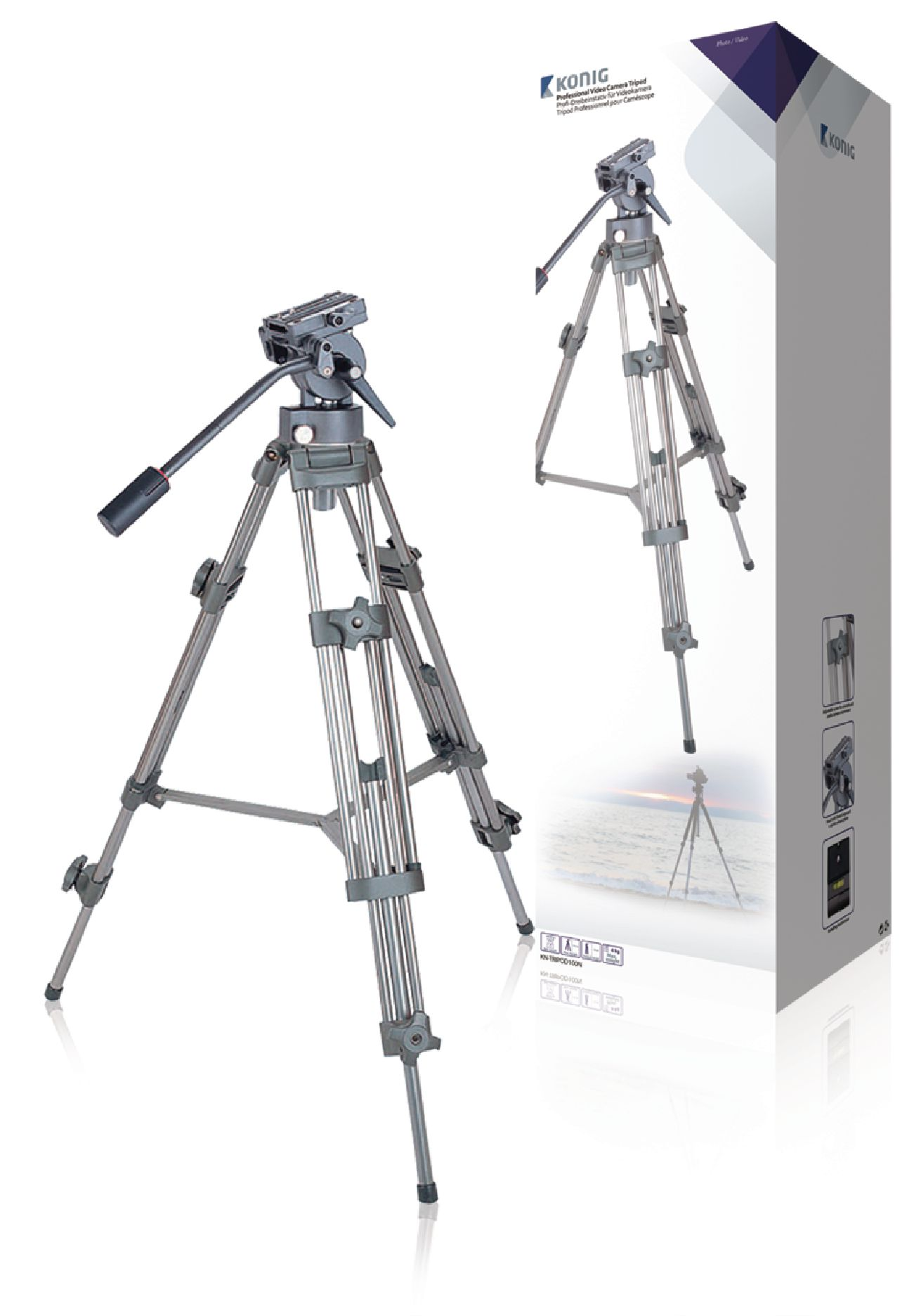 Video stativ vipbar, 137 cm. sort/sølv