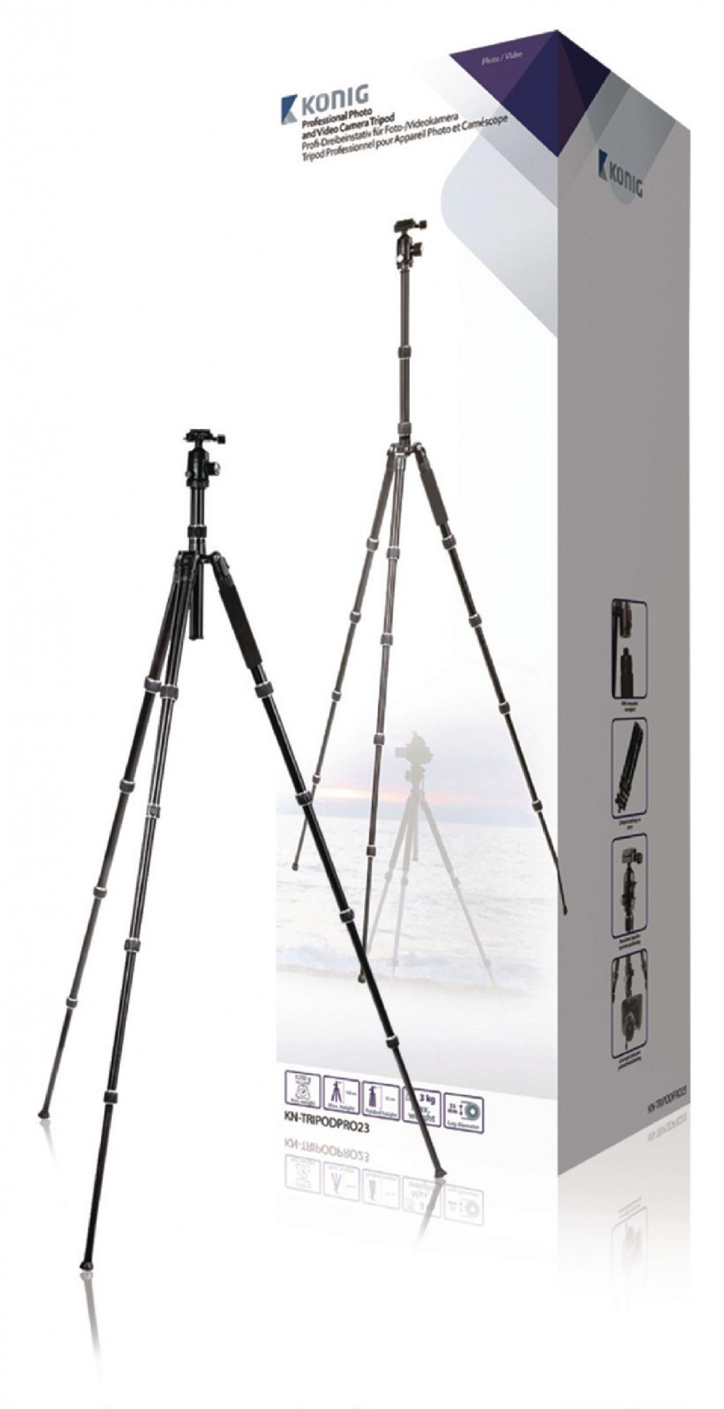 Image of   Professional kamera/video stativ hoved, 145 cm. sort