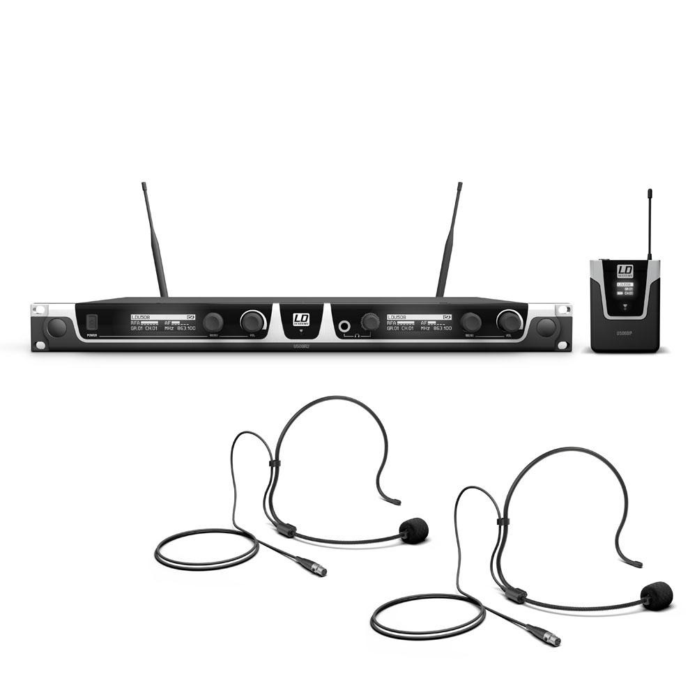 Image of   LD Systems U508 BPH2 - Trådløs mikrofon System med 2 x Bodypack og 2 x Headset