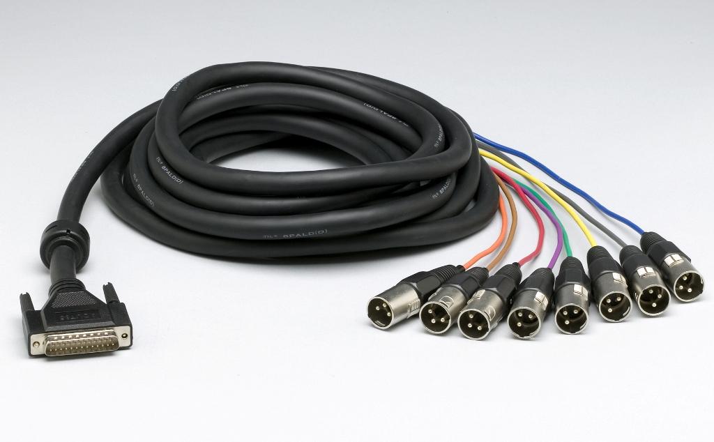 Lynx Analog output cable, 25dsub->8 XLRM, 5m