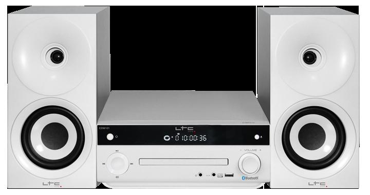Image of   LTC mikroanlæg med AM/FM, CD afspiller, Bluetooth, 2 x 20W Hvid