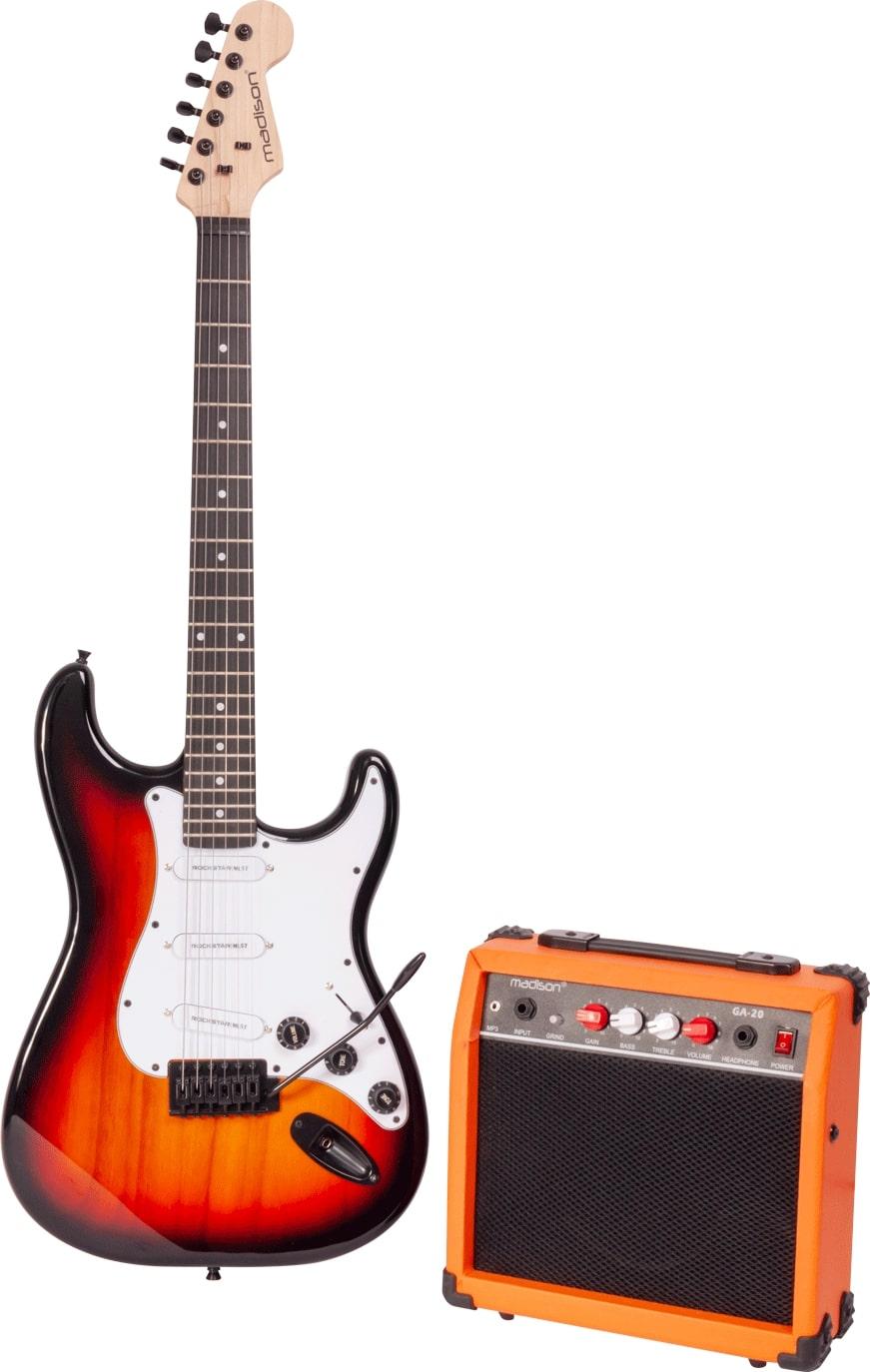 Madison vintage elektrisk guitar sæt, sunburst