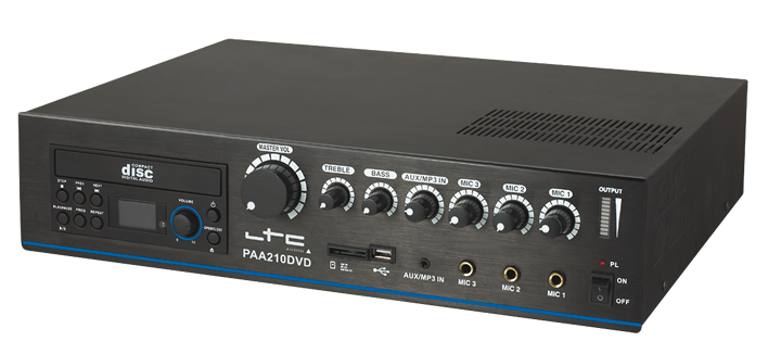 4-CHANNEL DESK TOP PA AMPLIFIER 210W WITH CD & USB/SD-MP3 PLAYERS