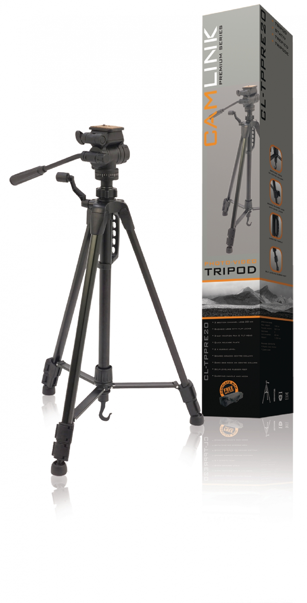 Image of   Premium kamera/video stativ vipbar, 148 cm. sort