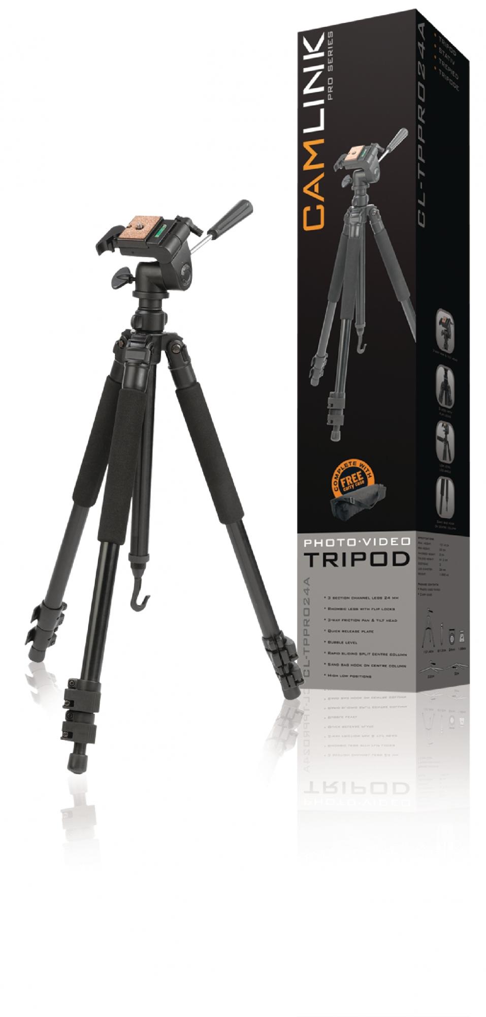 Image of   Professional kamera/video stativ vipbar, 146 cm. sort