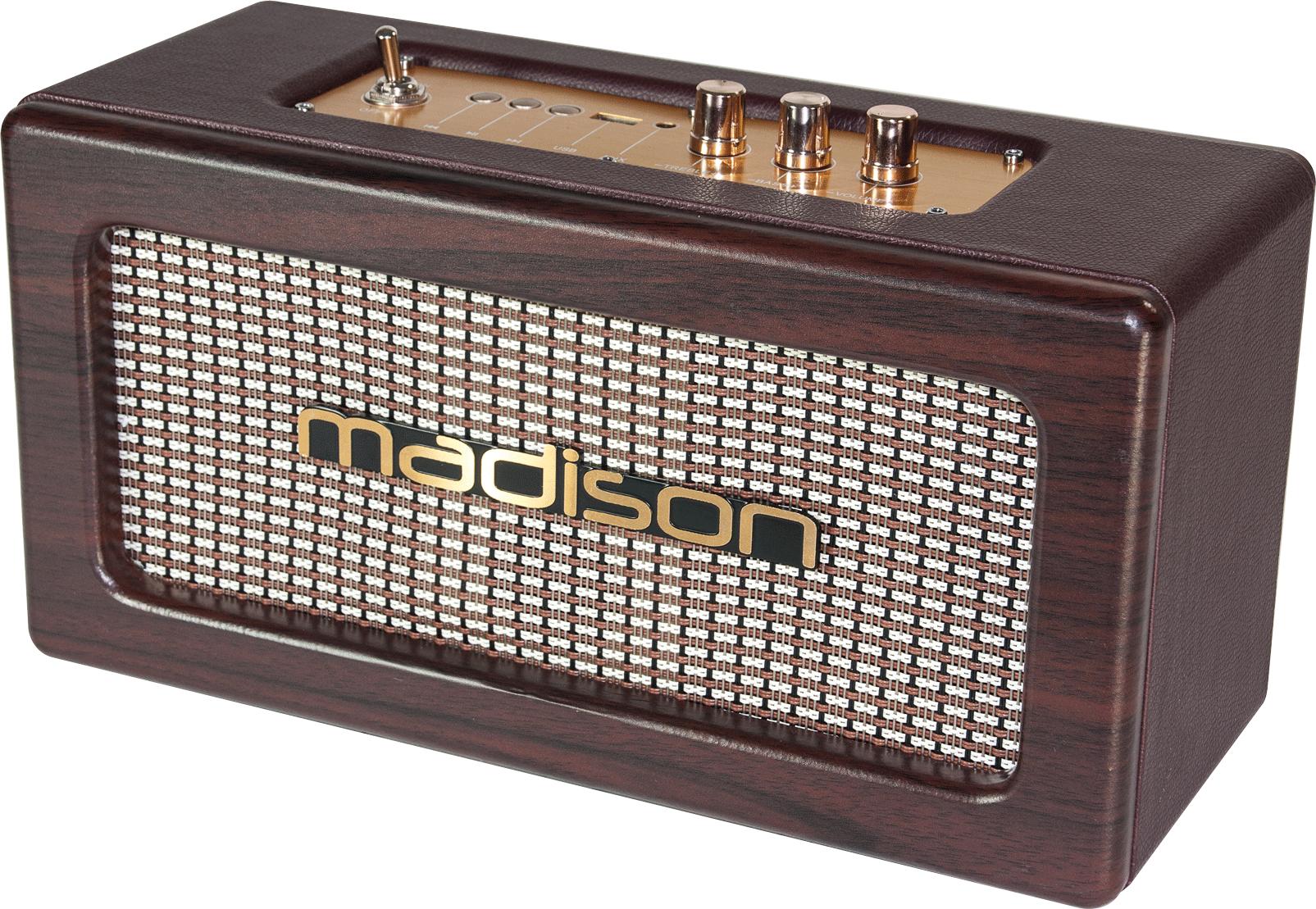 Image of   Madison genopladelig vintage 2 x 10W højttaler med USB og bluetooth