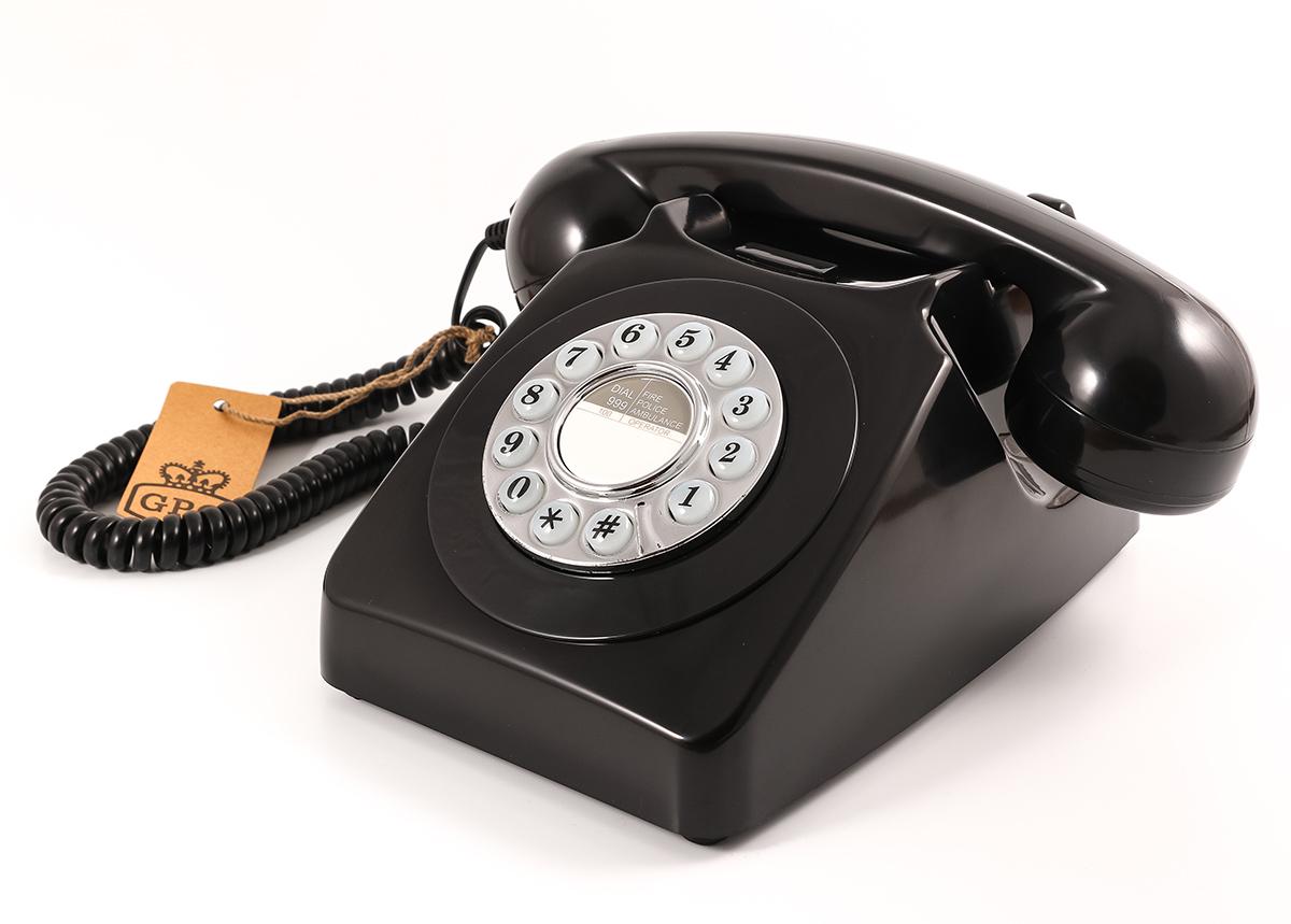 GPO 746 Retro Trykknaptelefon, sort