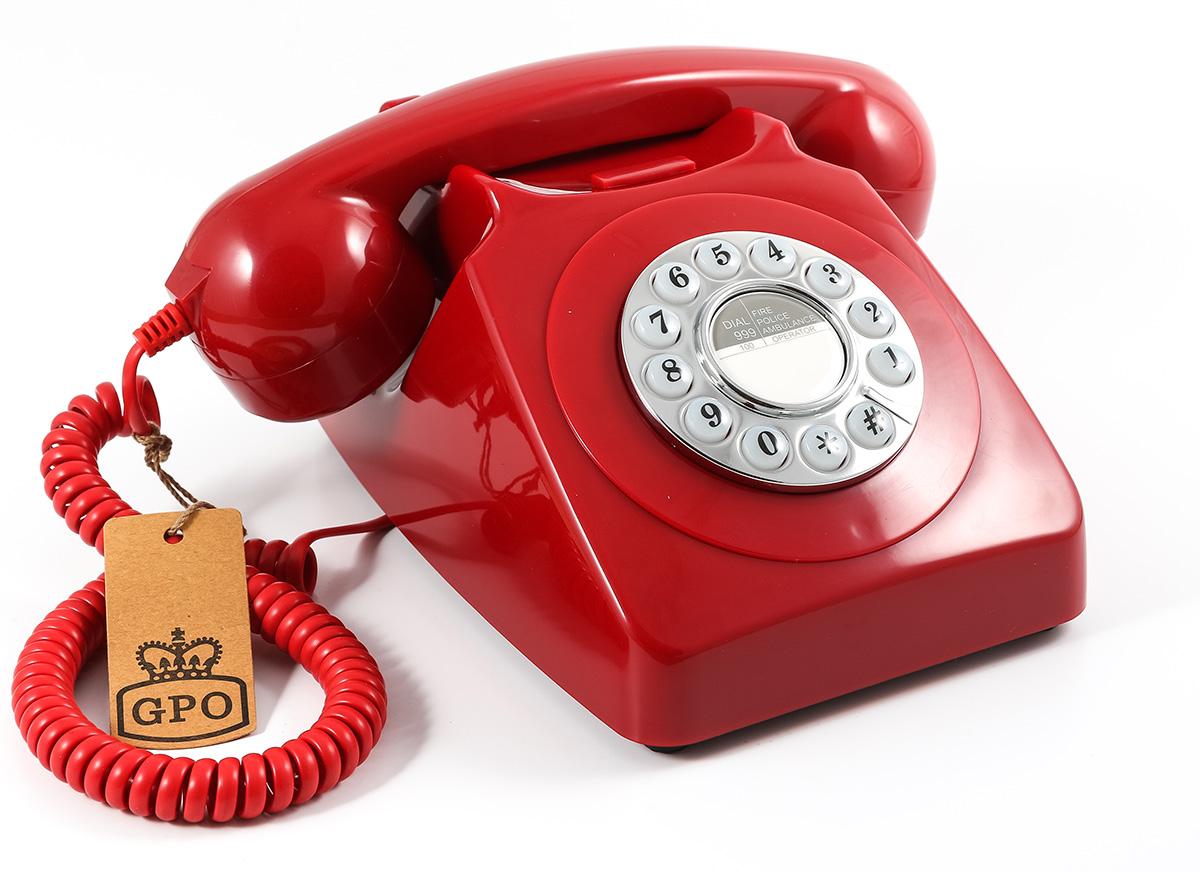 GPO 746 Retro Trykknaptelefon, rød