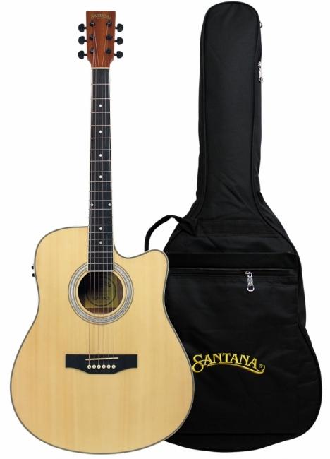 Image of   Santana LA90 Western Guitar - Cutaway, Pickup, m/Taske Natur