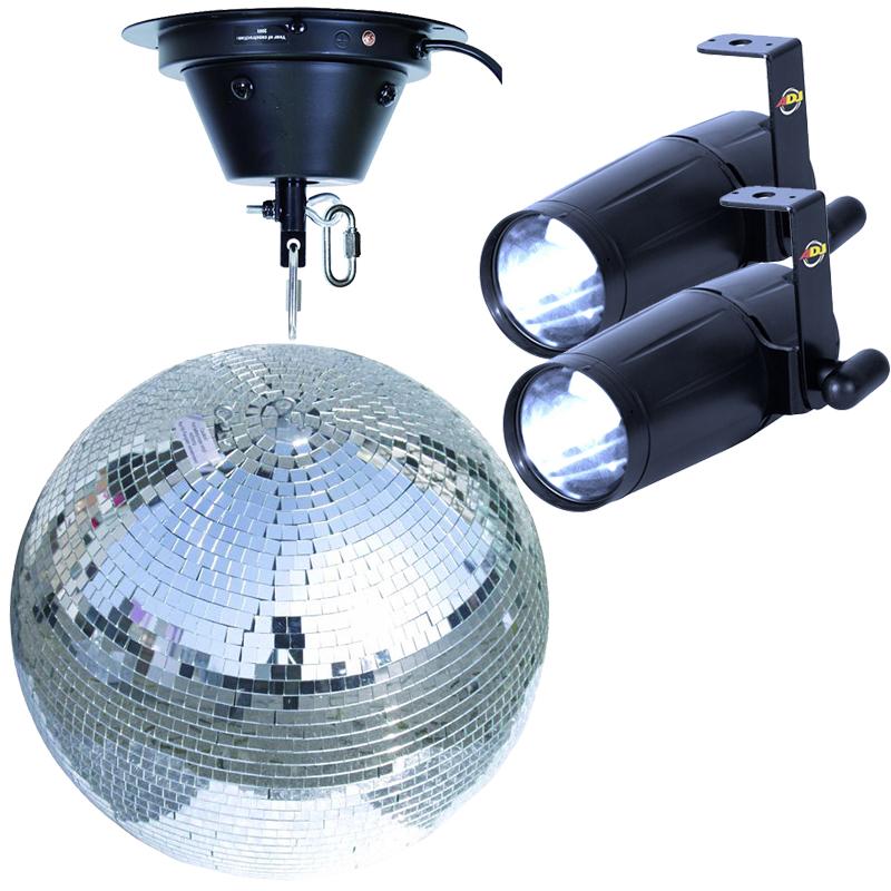 Komplet spejlkugle sæt 50 cm med LED spot