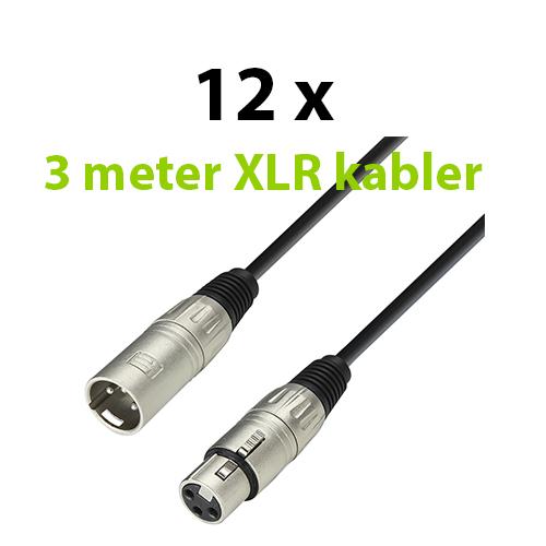 XLR Kabel Pakke, 12 x 3 meter