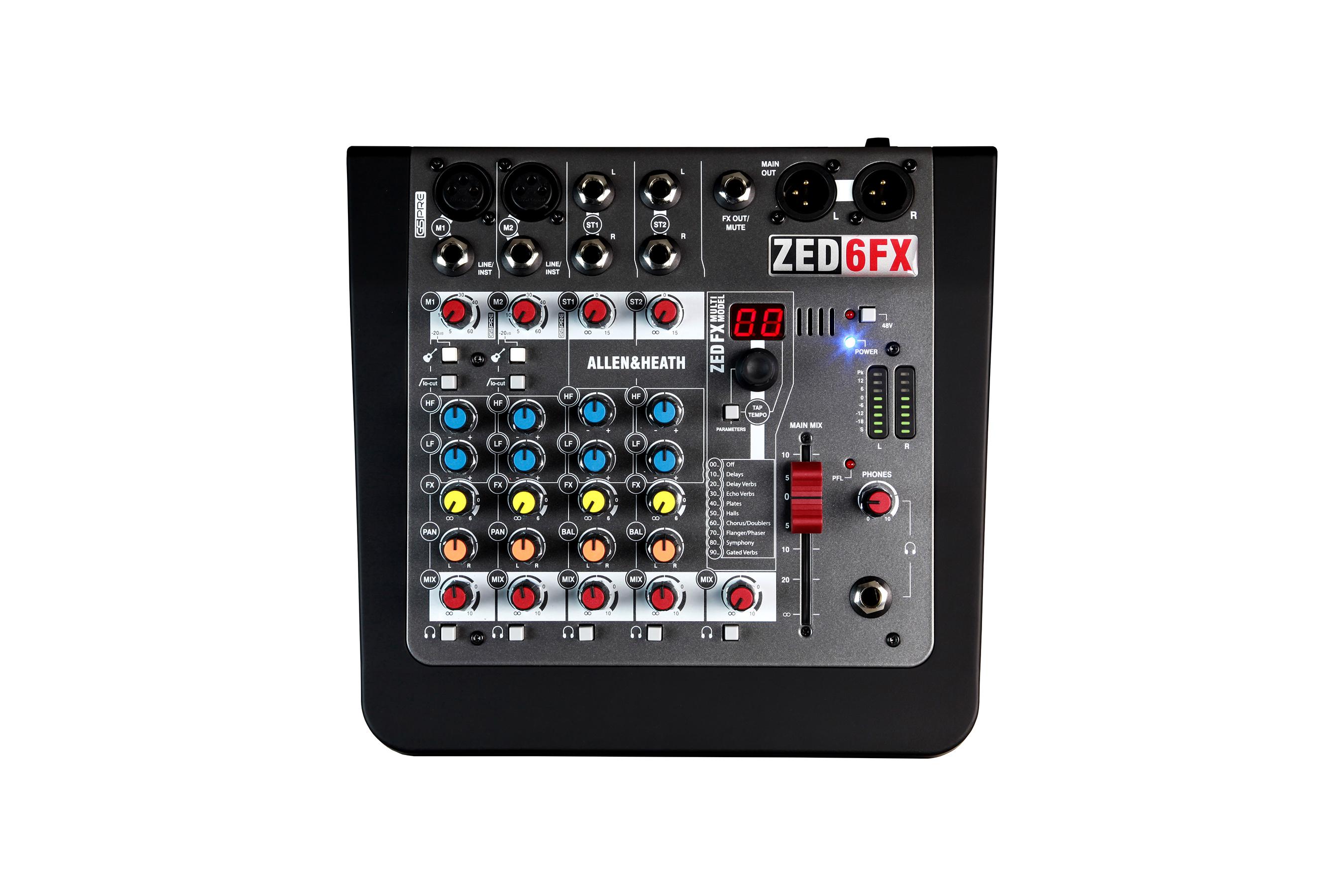 A&H ZED6FX 6 kanals live mixer m/DSP, DI-boks, 48V
