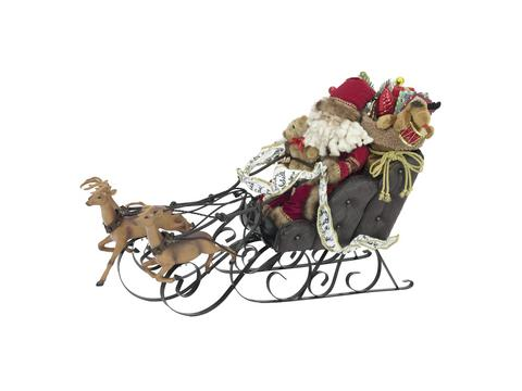 Christmas sleigh, with reindeer, 75cm