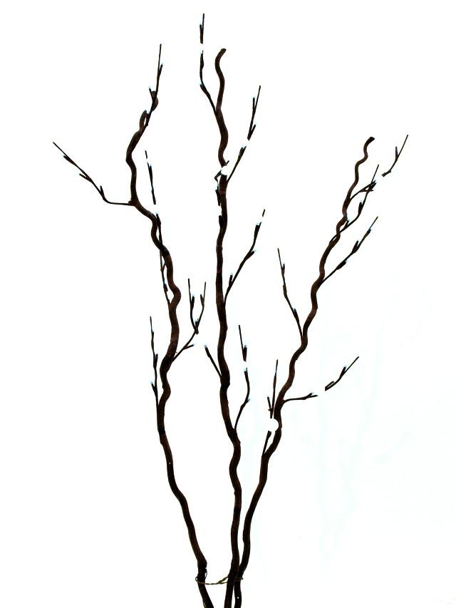 Image of   Kunstig Corkscrew branch, with LEDs, white, 120cm
