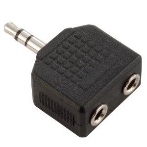 Image of   Adapter Audio Stik 2 x Stereo Jack 3,5 mm Hun til Stereo Jack 3,5 mm Han