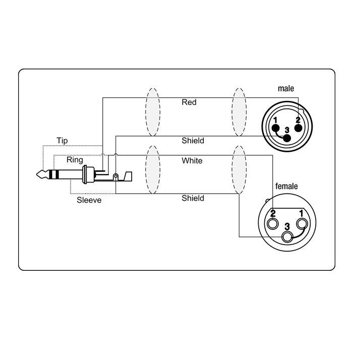 Adapter Kabel 6.3 mm Jack stereo til 1 x XLR Han og 1 x XLR Hun 5 meter