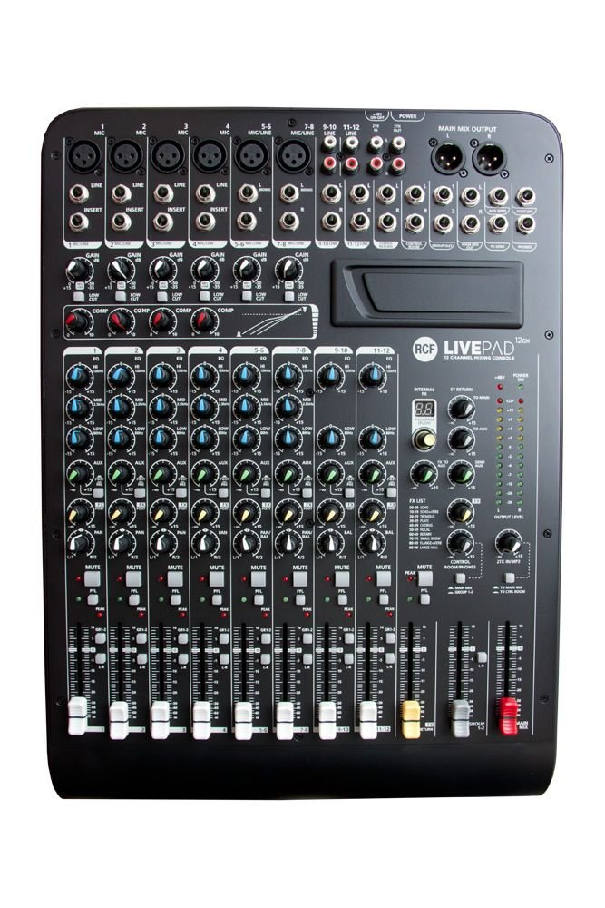 Image of   RCF Livepad 12CX mixer, 6 Mic + 4 x Stereo Line m/DSP